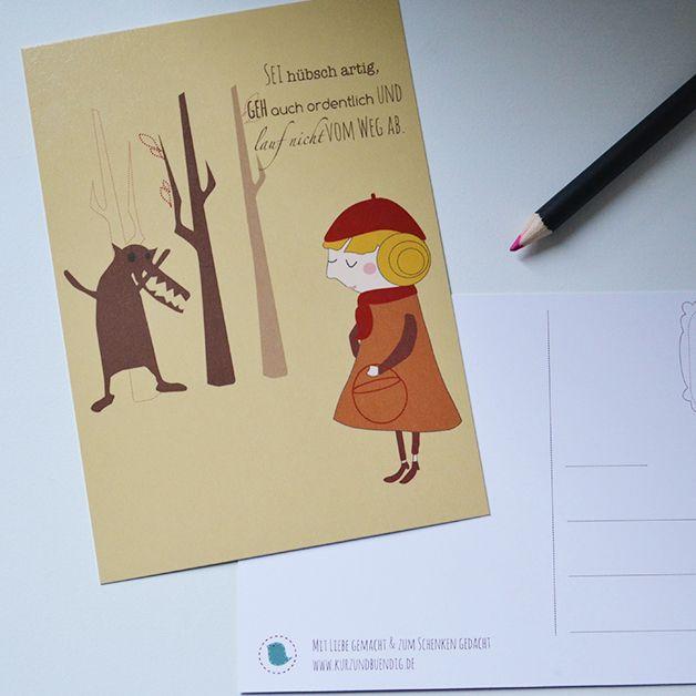 #fairytale #märchen #rotkäppchen #red #wolf #forrest #cute #illustration  shop it at DaWanda: http://de.dawanda.com/product/51255762-Postkarte-Rotkaeppchen