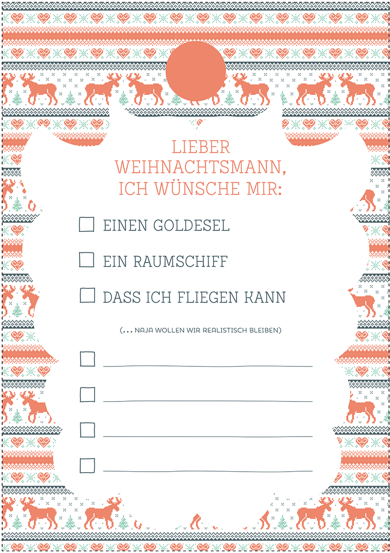 Dein Weihnachts Wunschzettel zum ausdrucken | free printables ...