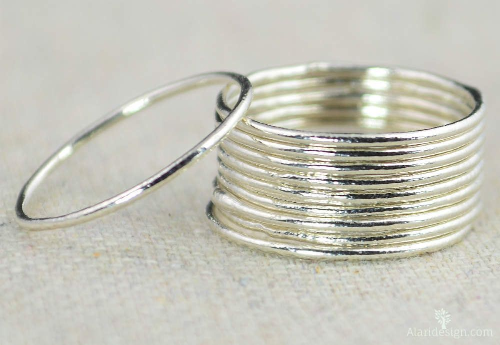 """Thin Round Fine Silver Stacking Ring: Dainty, rustic, and original. Each ring is different as I leave the fuse joint untouched adding texture, occasional """"dew drops"""" of silver, and other """"imperfection"""