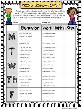 Weekly behavior chart editable  free teacherspayteachers also daily template autism ideas pinterest rh