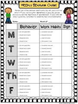 Weekly Behavior Chart Editable  Free  TeacherspayteachersCom