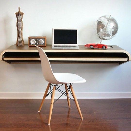 Bureau suspendu par Orange22 design lab | White office, Space saving ...