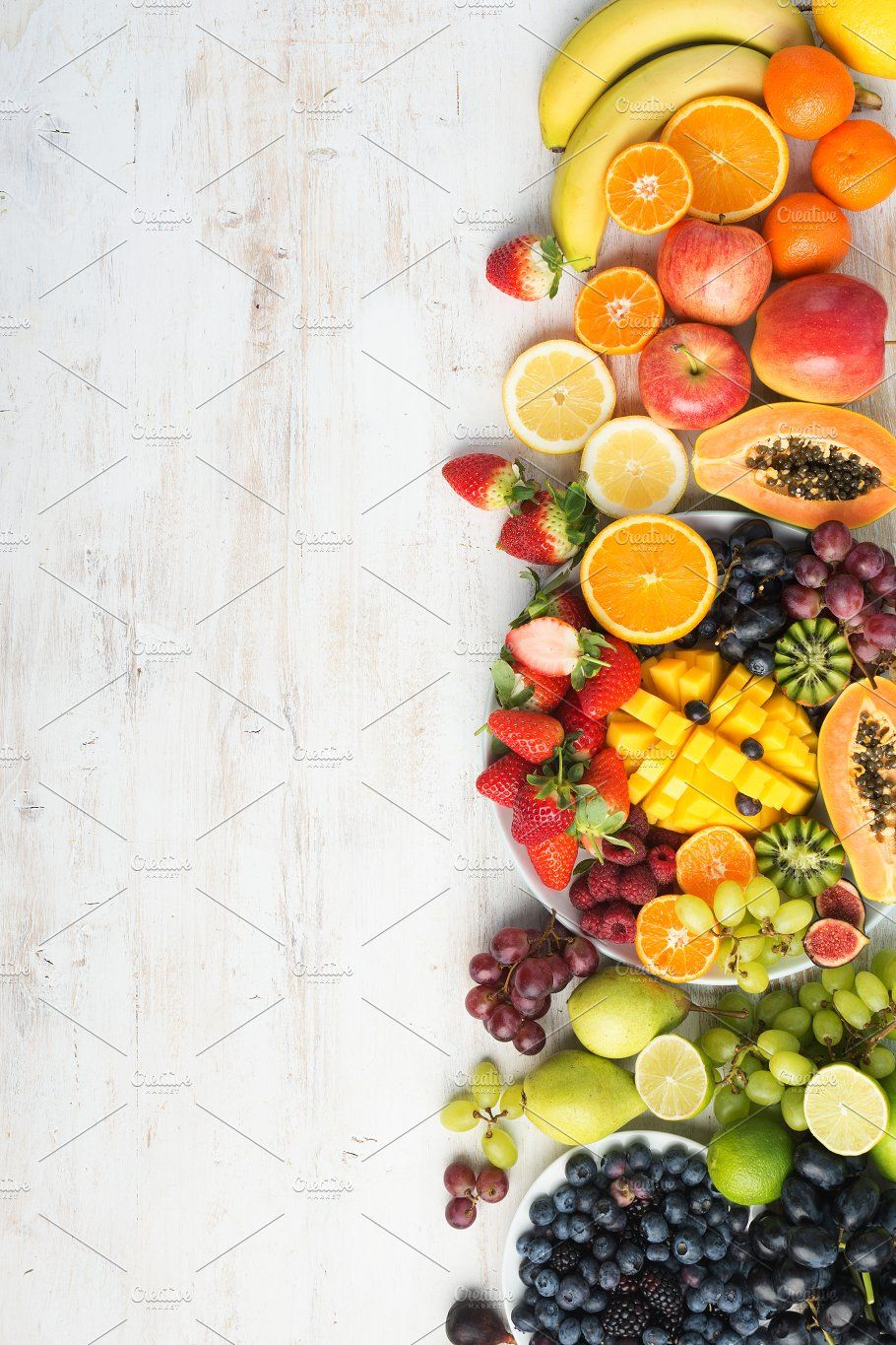 Rainbow fruits and vegetables, top view by aiselin on ...