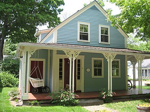 Blue House And Trim Pale Blue White Trim Rust Doors Cottage