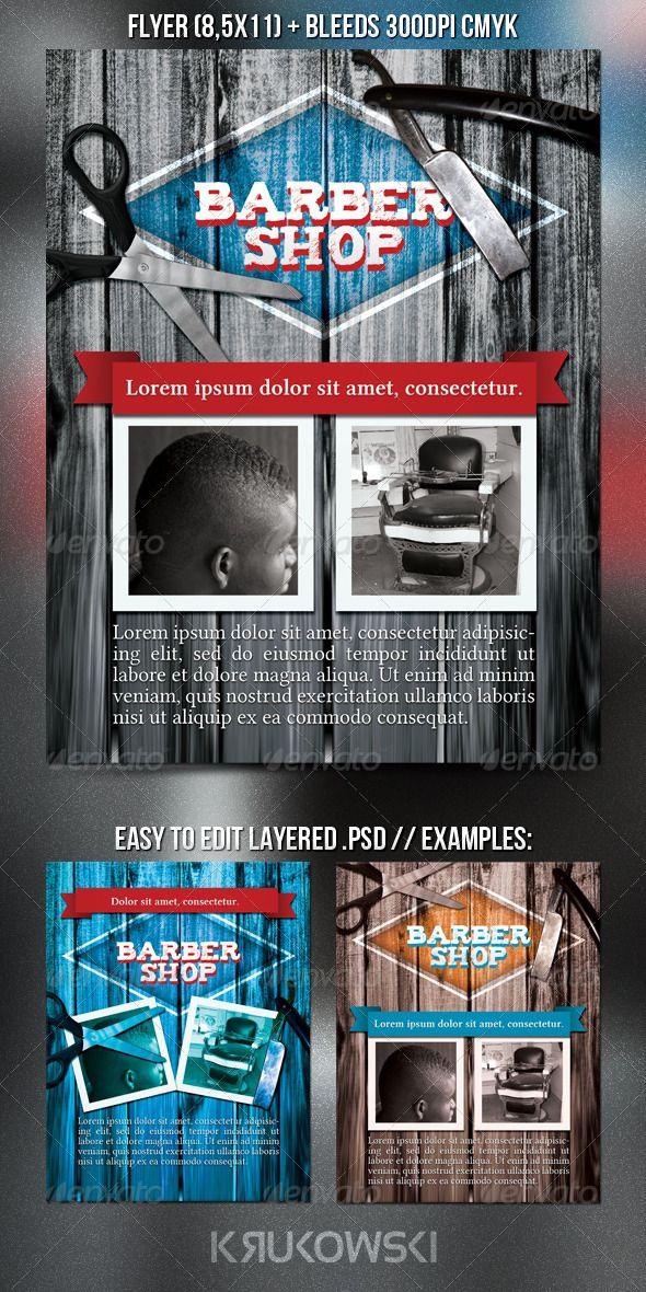 Barbershop Flyer #GraphicRiver Barber Shop PSD Flyer