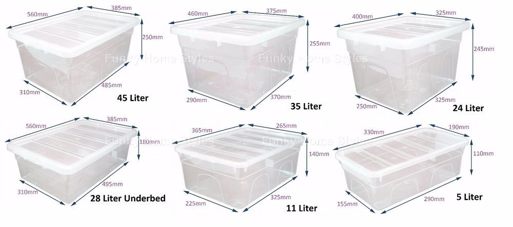 Clear Plastic Storage Box Stackable Boxes With Lid Container Home Office UK  Made 5L,11L