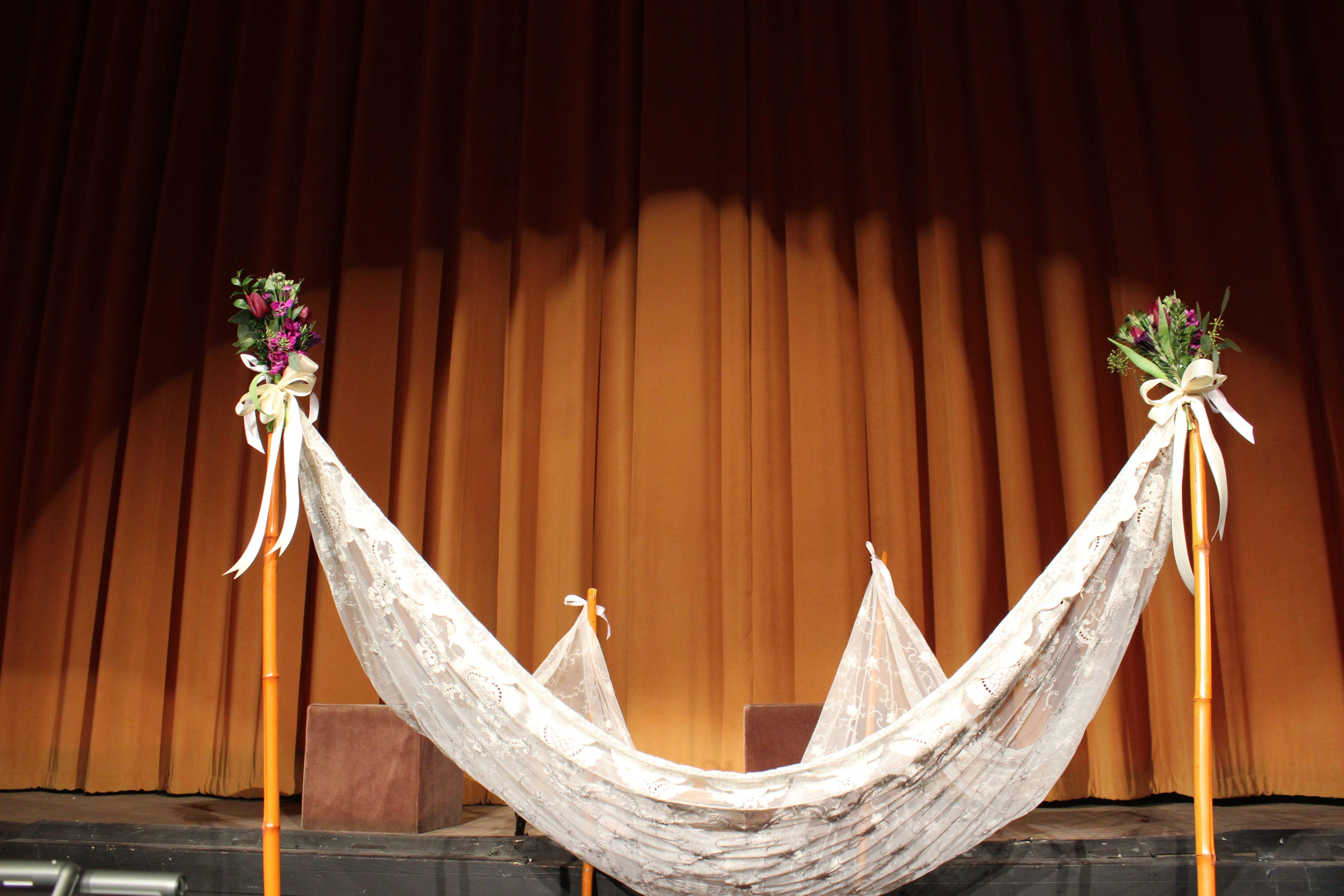 Hand held Chuppah, ceremony, theatre wedding, jersey city
