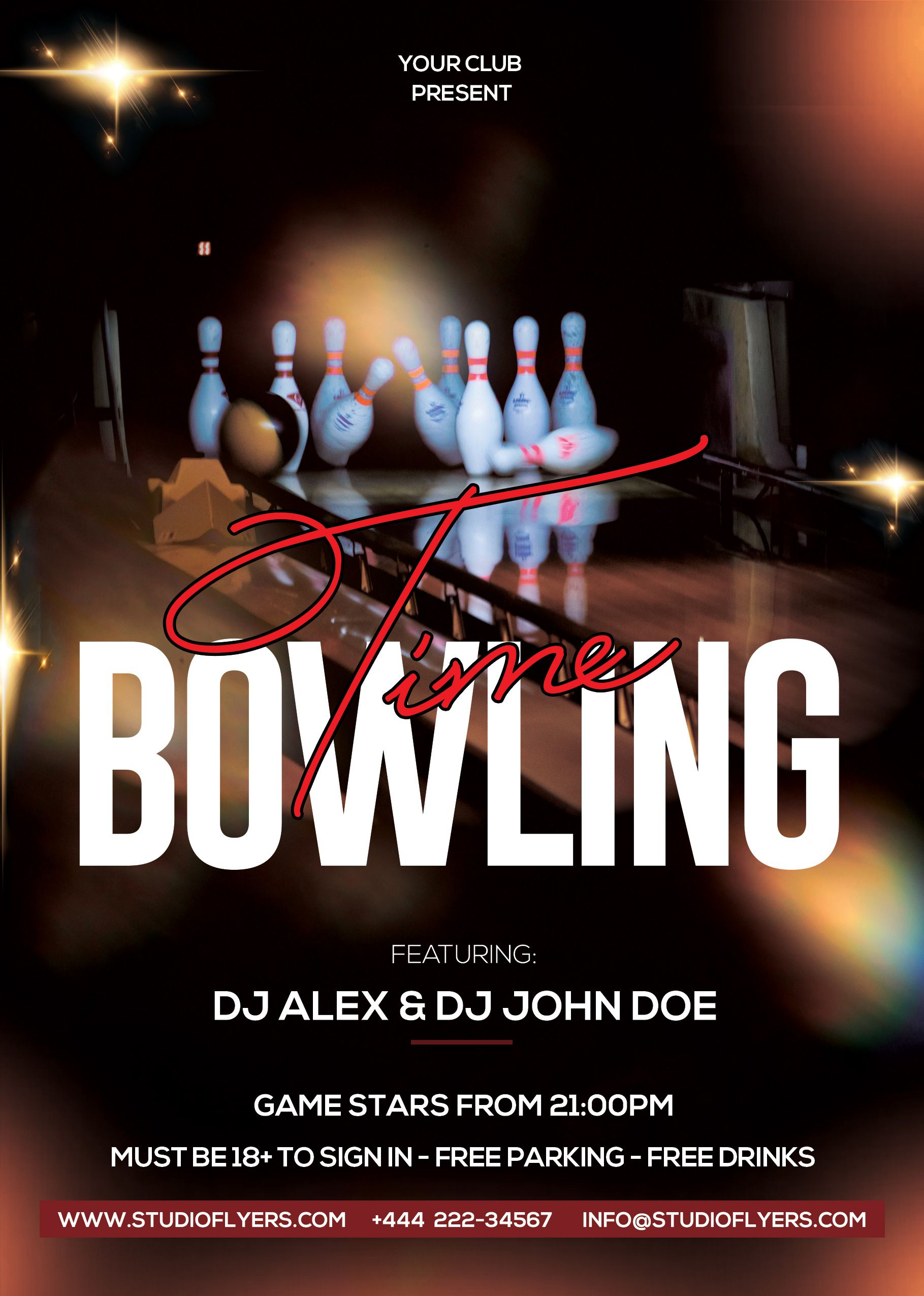 Bowling Time Free Psd Flyer Template Studioflyers Com Free Psd Flyer Templates Psd Flyer Templates Free Psd Flyer