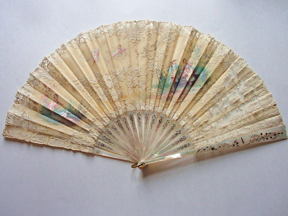 Antiker Fächer, Spitze, Perlmutt, 1880, fan, abanico, ventaglio, eventail