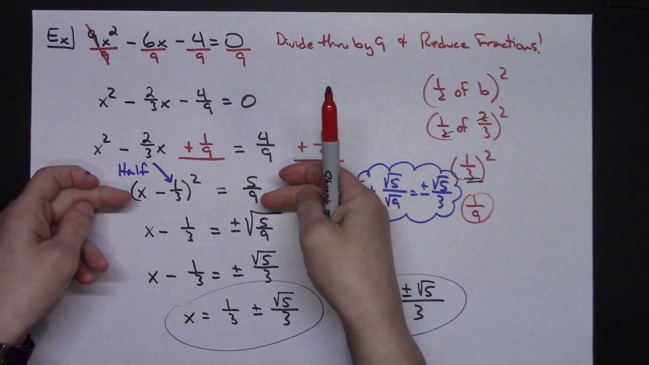 2 Examples Of Completing The Square Mathematics Pinterest
