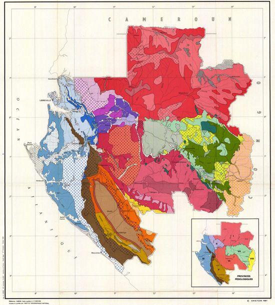 Soil map of Gabon 1981 Gabao Pinterest Africa Fields and