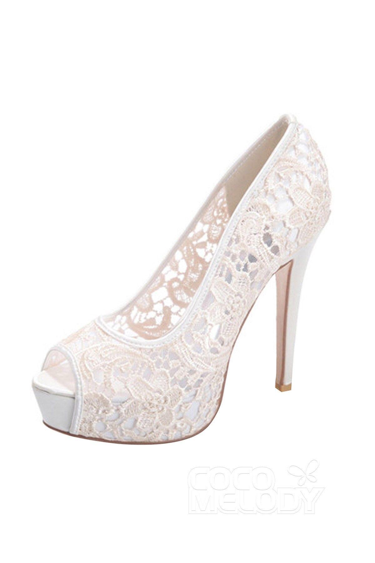 c5c0a9ac172d Stiletto Heel 12.7cm Heel 2.8cm Platform Lace Stitching Lace Peep Toe  Bridal Shoes SWS16019