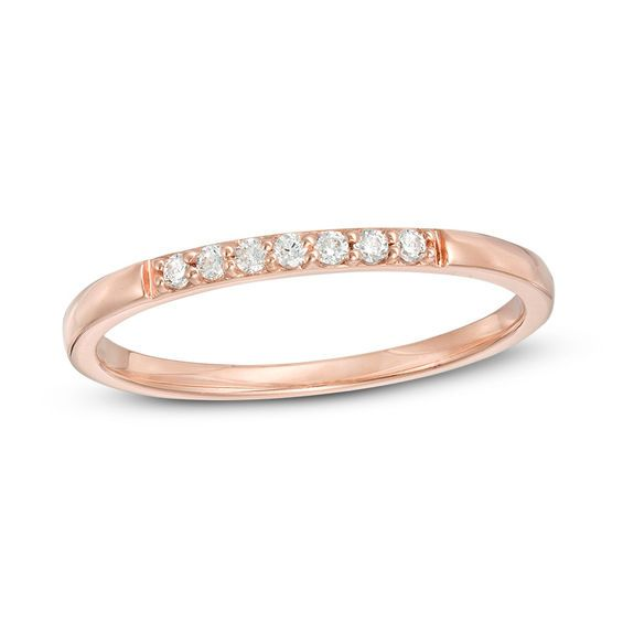 1 15 Ct T W Diamond Stackable Band In 10k Rose Gold Stackable Bands Rose Gold Peoples Jewellers