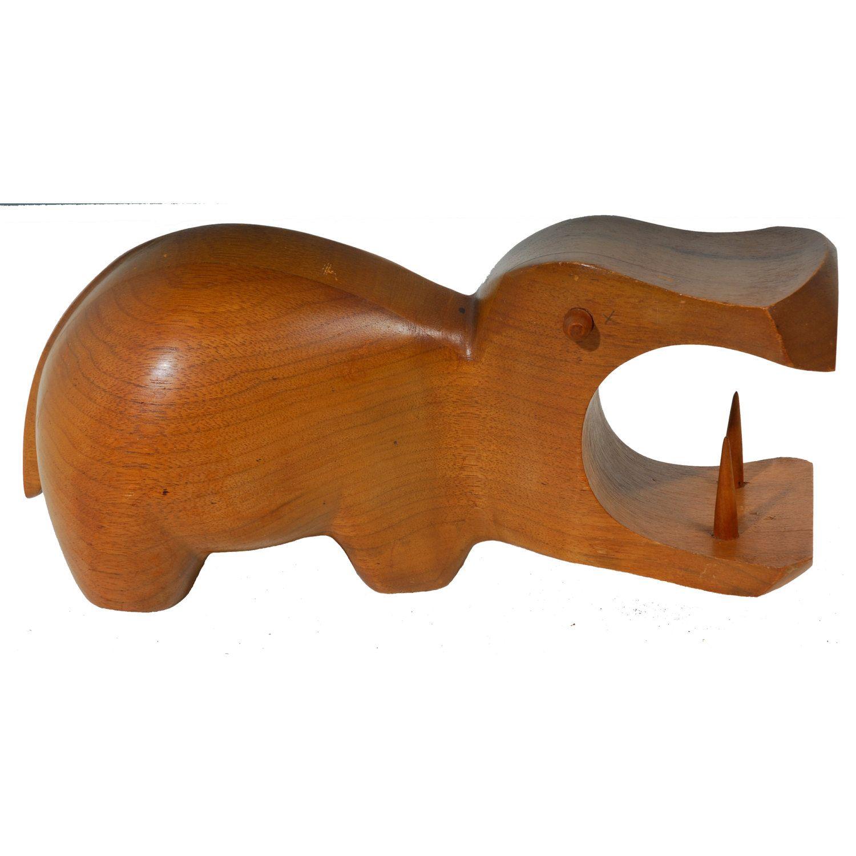 Large vintage sculptural teak danish modern hippo by revolverseattle