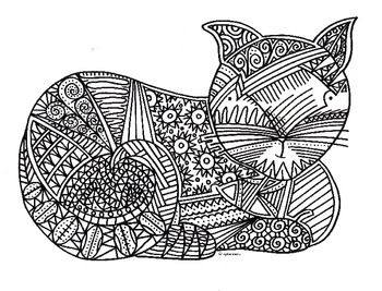 Cat Coloring Page Adult ColouringCatsDogs Zentangles