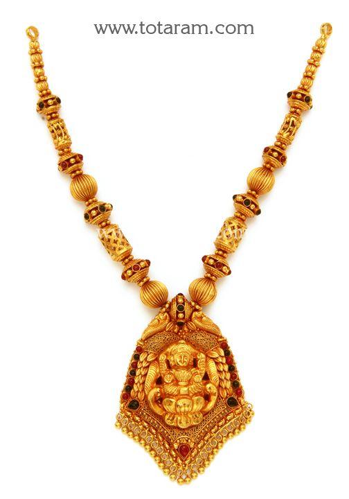 22K Gold 'Lakshmi' Necklace (Temple Jewellery) | Gold ...