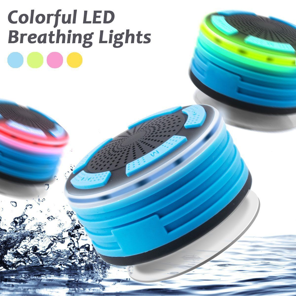 Bluetooth Shower Speaker Waterpoof Shower Radios With Light Wireless Bathroom Speaker With Fm Radios Suction Cup Portable Speaker For Show Shower Speaker Kids House Beach Pool