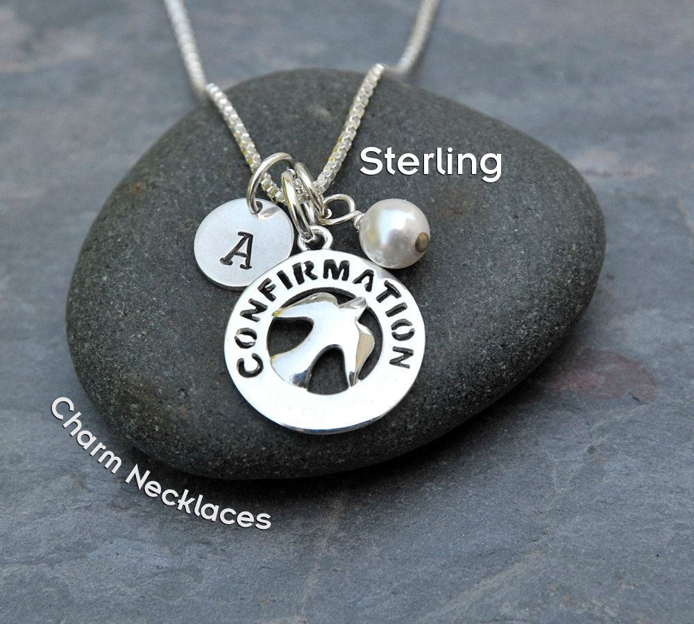 Confirmation gift for girls personalized charm necklace sterling confirmation gift for girls personalized charm necklace sterling silver dove pendant hand stamped aloadofball Images