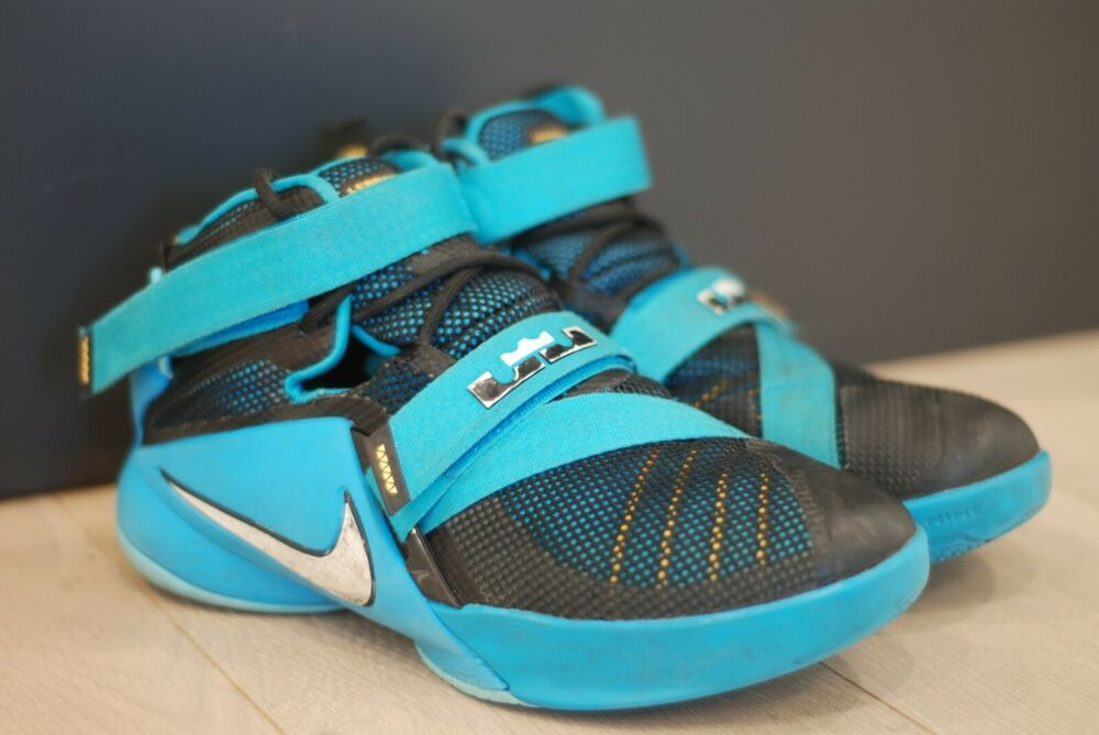 new style 39010 13401 Nike Lebron Soldier 9 Blue Lagoon mens 4.5 great condition ...