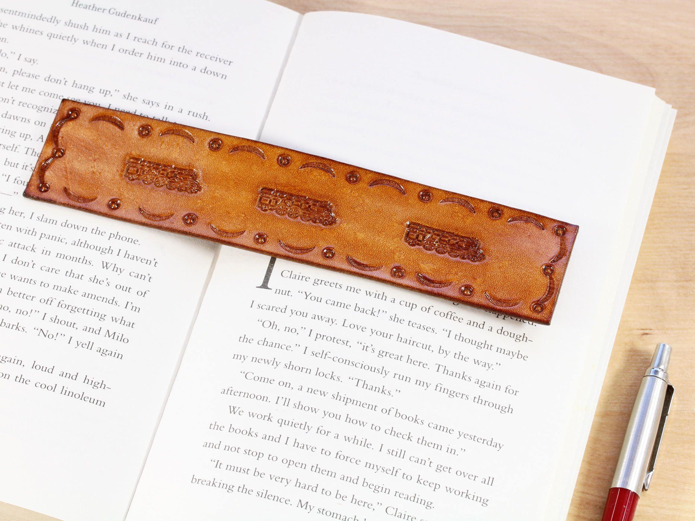 Train Leather Bookmark, Handmade Bookmark, Birthday Gift For