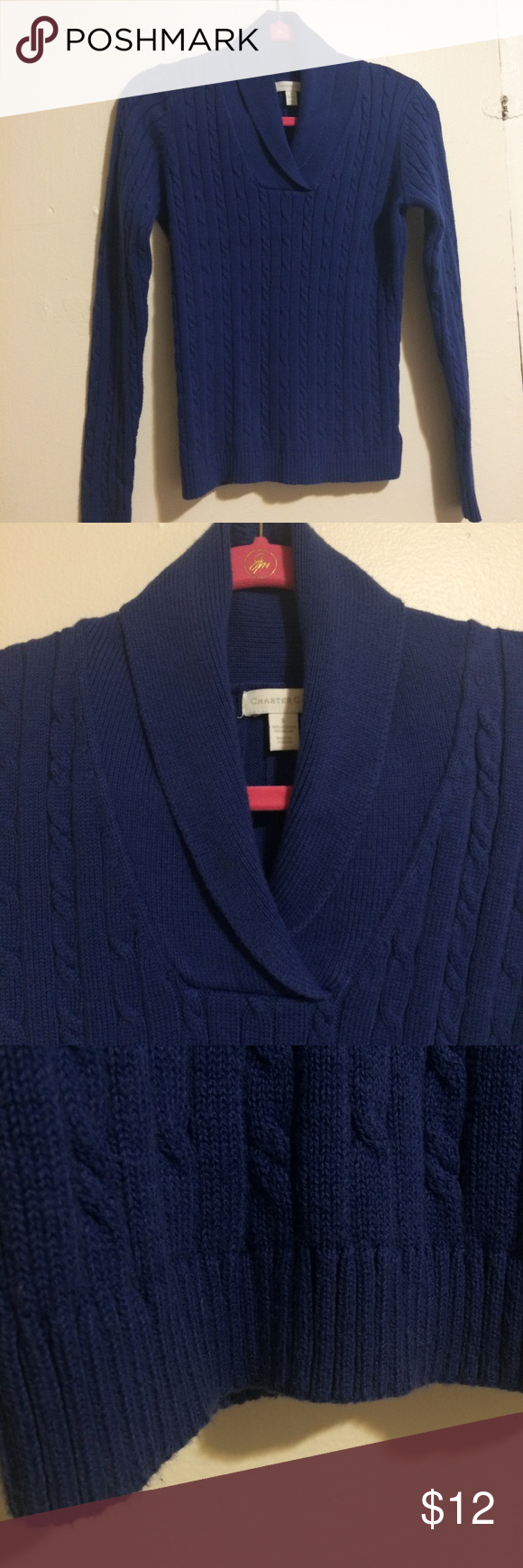 Royal blue cable knit pullover sweater
