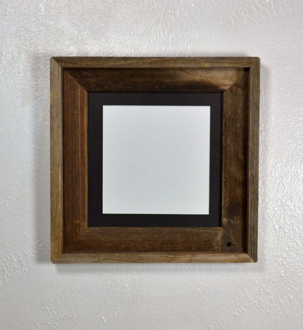 f5486c68021d Eco friendly reclaimed wood picture frame with mat for 6x6 photos or prints.