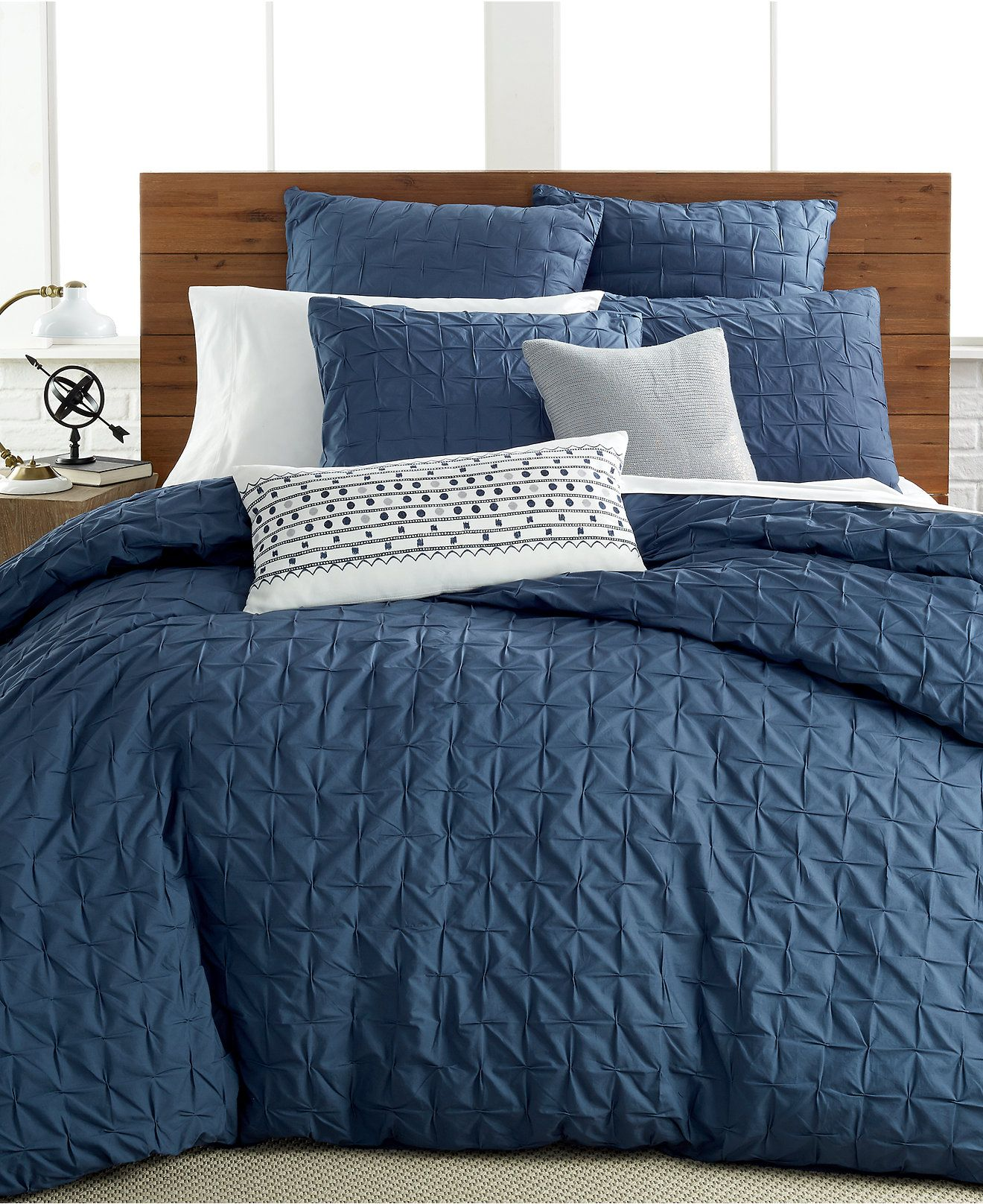 Good Indigo Bed Linen Part - 14: Bar III Box Pleat Indigo Bedding Collection - Bedding Collections - Bed U0026  Bath - Macyu0027s