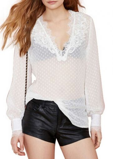 Lace Splicing Lantern Sleeve T Shirt on sale only US$35.11 now, buy cheap Lace Splicing Lantern Sleeve T Shirt at modlily.com