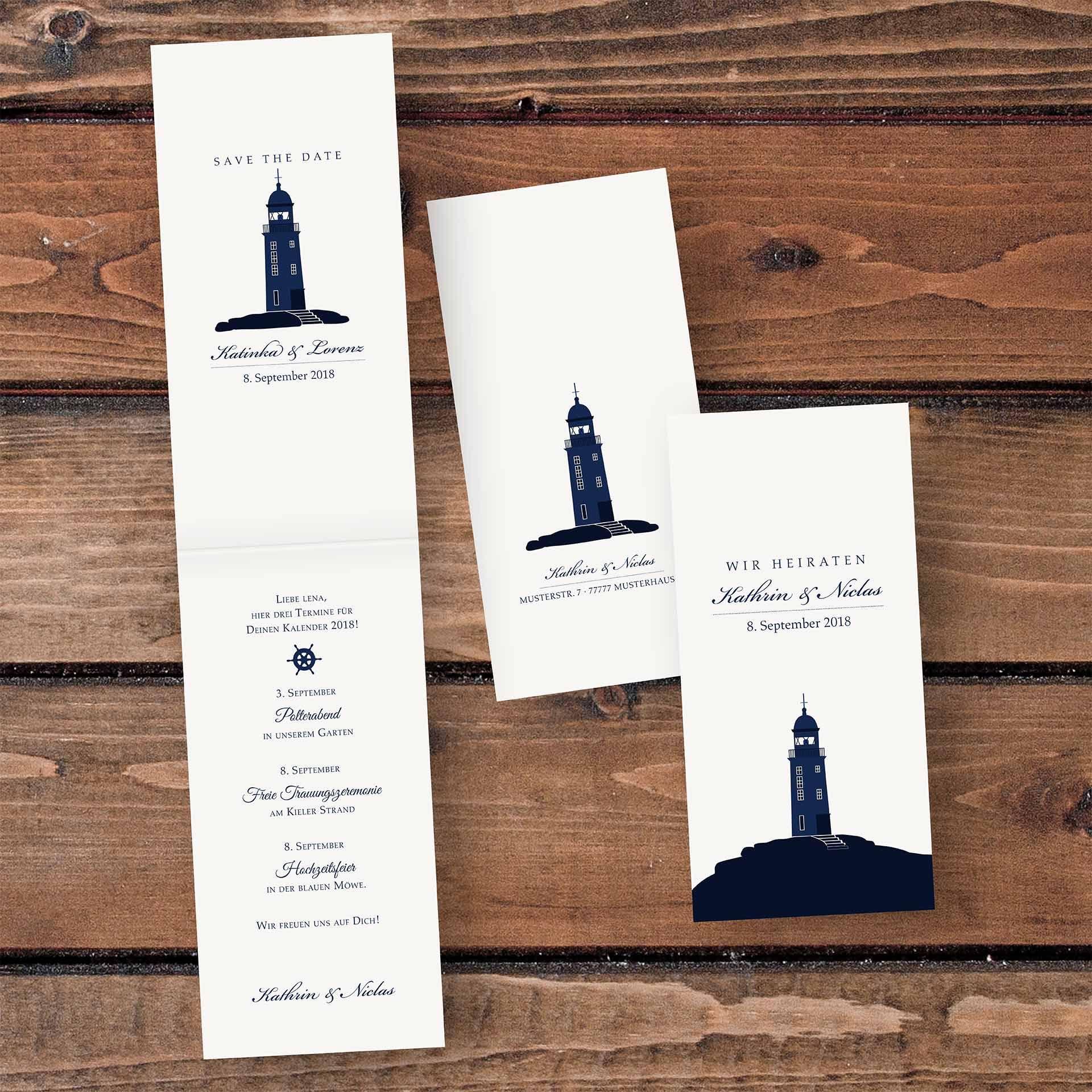 Hochzeitskarten Einladungskarte 4 Seiter Hochformat Kopffalz