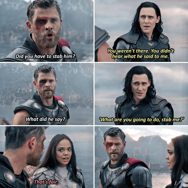 [incorrect quote]yeah that's fair-source: tumblr#chrishemsworth #thor #tomhiddle #comicbooks