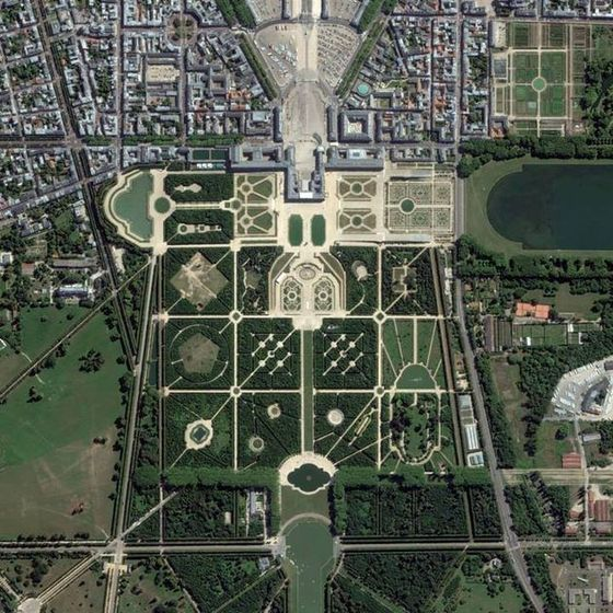 Aerial view of palace of versailles paris france for Garden design versailles