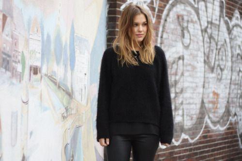 girl, beautiful, long hair, graffiti, black clothes