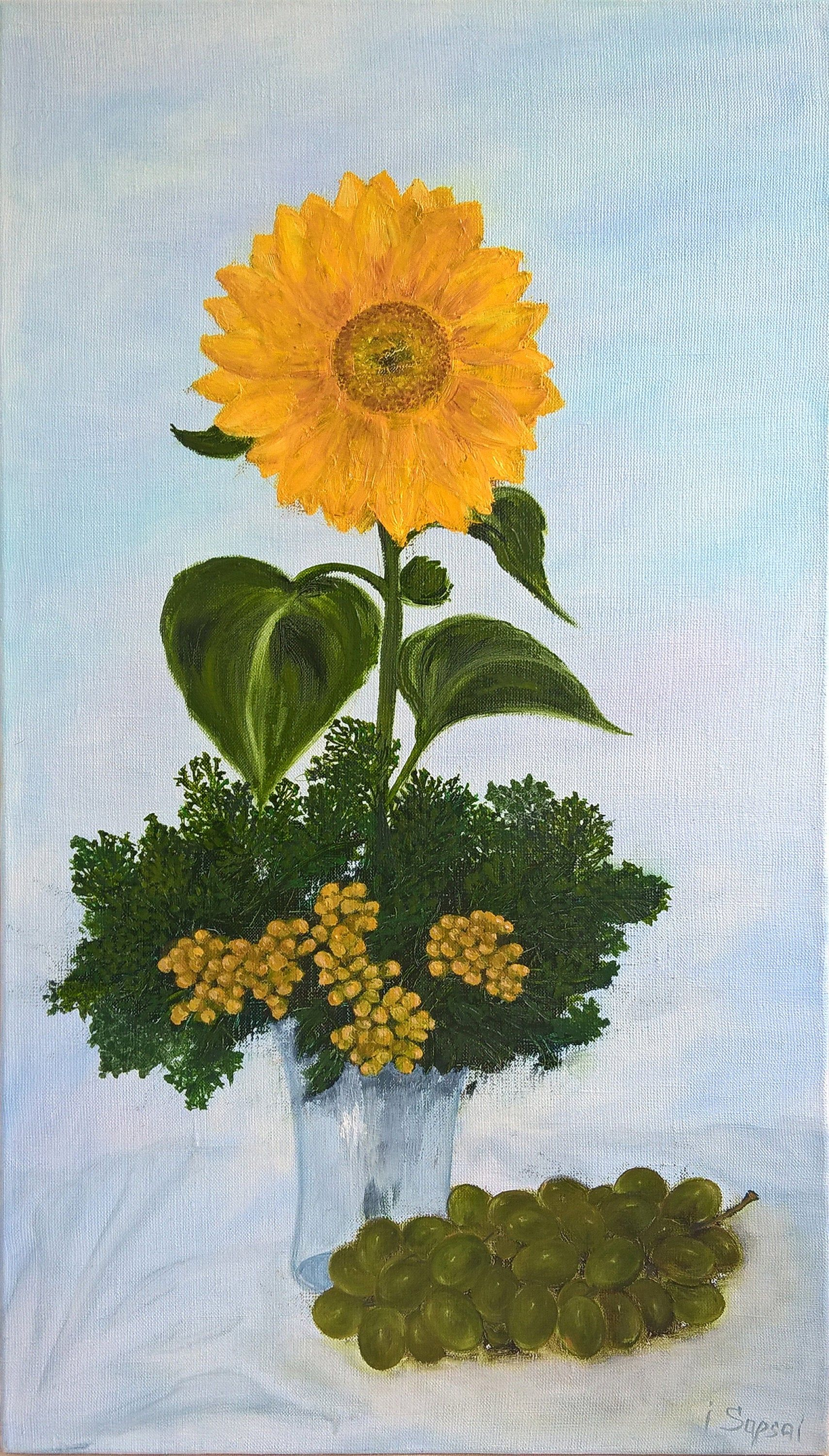 Sunflower Canvas Wall Art Oil Painting Green Grapes Green And Yellow Bouquet Flower Vase Oil Painting On Canvas Green Still Life V 2020 G