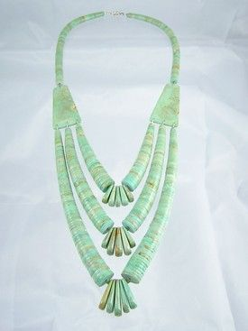 Triple Turquoise Heishe Disc & Corn Necklace - Lupe Lovato
