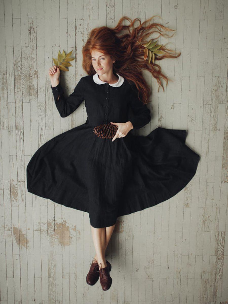 Black Linen dress autumn  #blackdress #linendress #falloutfit #autumnoutfit #ad
