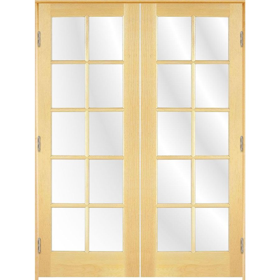 Reliabilt Prehung 10 Lite Pine French Interior Door Common 60 In X 80 In Actual 61 5 In X 81 25 In French Doors Interior Reliabilt Wood French Doors