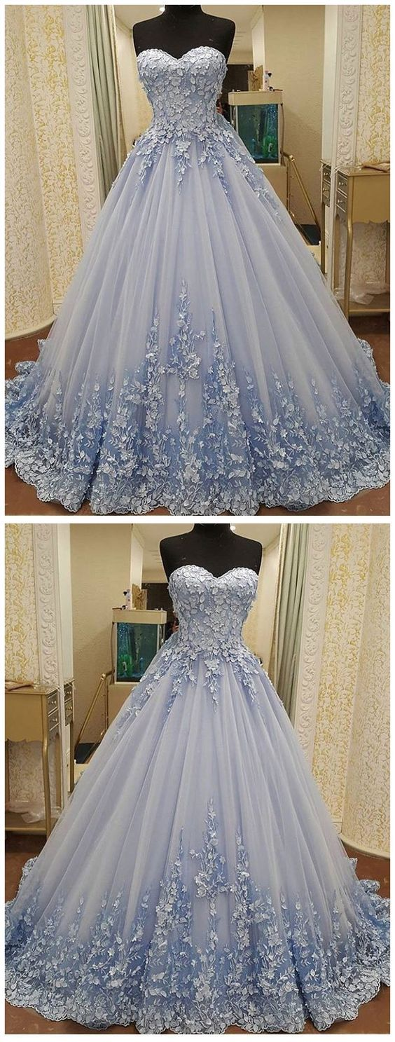 Blue sweetheart prom dress long tulle prom dress charming aline