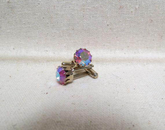 Vintage Pink Aurora Borealis Rhinestone Cuff by KansasKardsStudio, $18.50