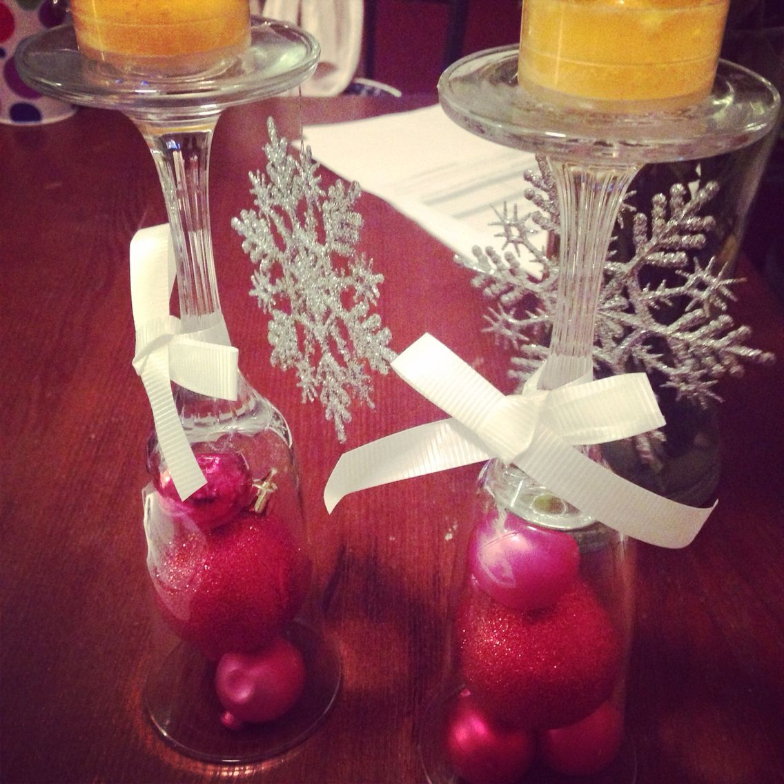 Easy Christmas Candle Holders Made Of Wine Glasses My Things