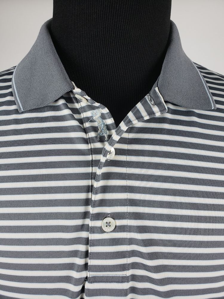 bdf6d41433 Men's L Bobby Jones Golf Polo striped gray white performance polyester D11B  #fashion #clothing #shoes #accessories #mensclothing #shirts (ebay link)