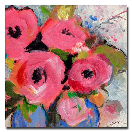 Bouquet Pink Canvas Art Pink Painting Golden Painting