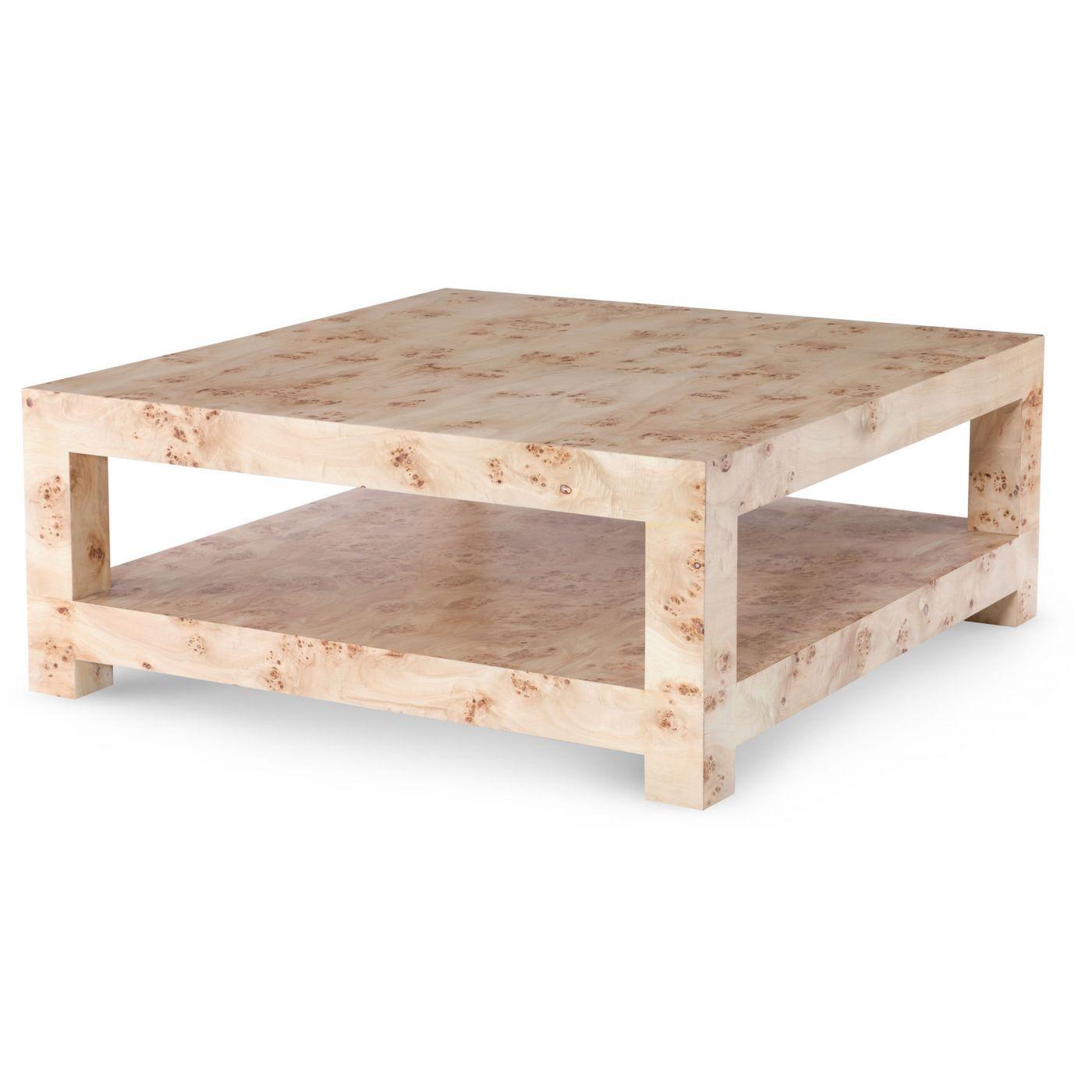 Bi Level Square Coffee Table In Mapa Burl Wood Vaneer Mapa Burl Is Actually The Burlwood Of Th Burled Wood Coffee Table Coffee Table Large Square Coffee Table