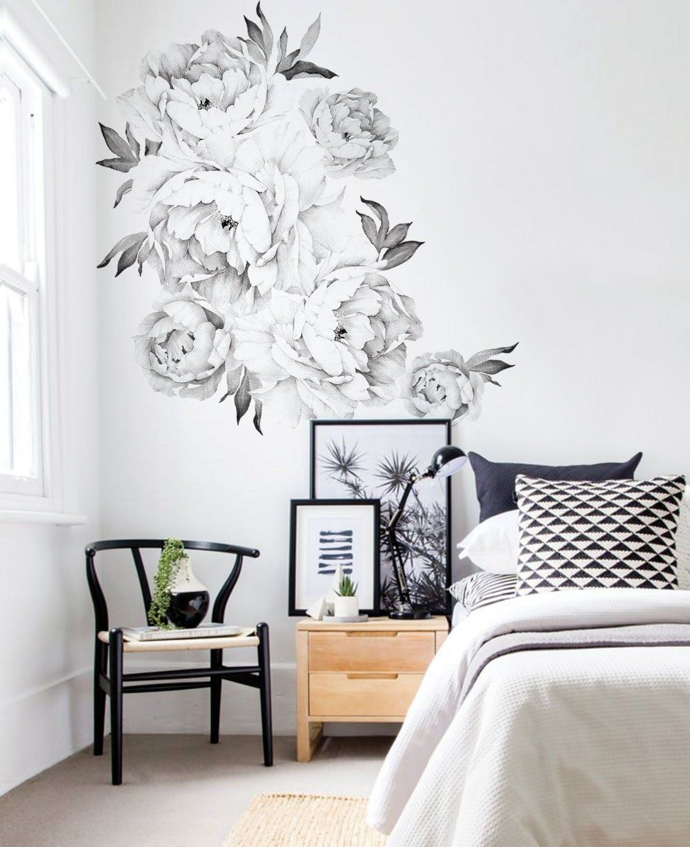 Set of 6 Giant Black and White Peony Wall Decals Роспись