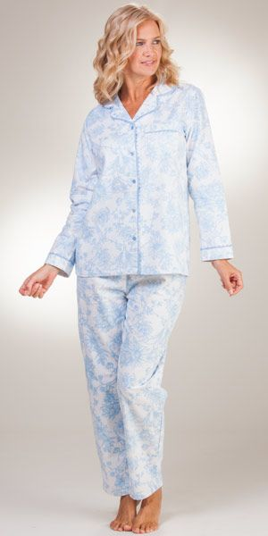 2a6e57c1c0 Flannel Pajamas - La Cera Cotton Pajama Set in Imperial Blue ...