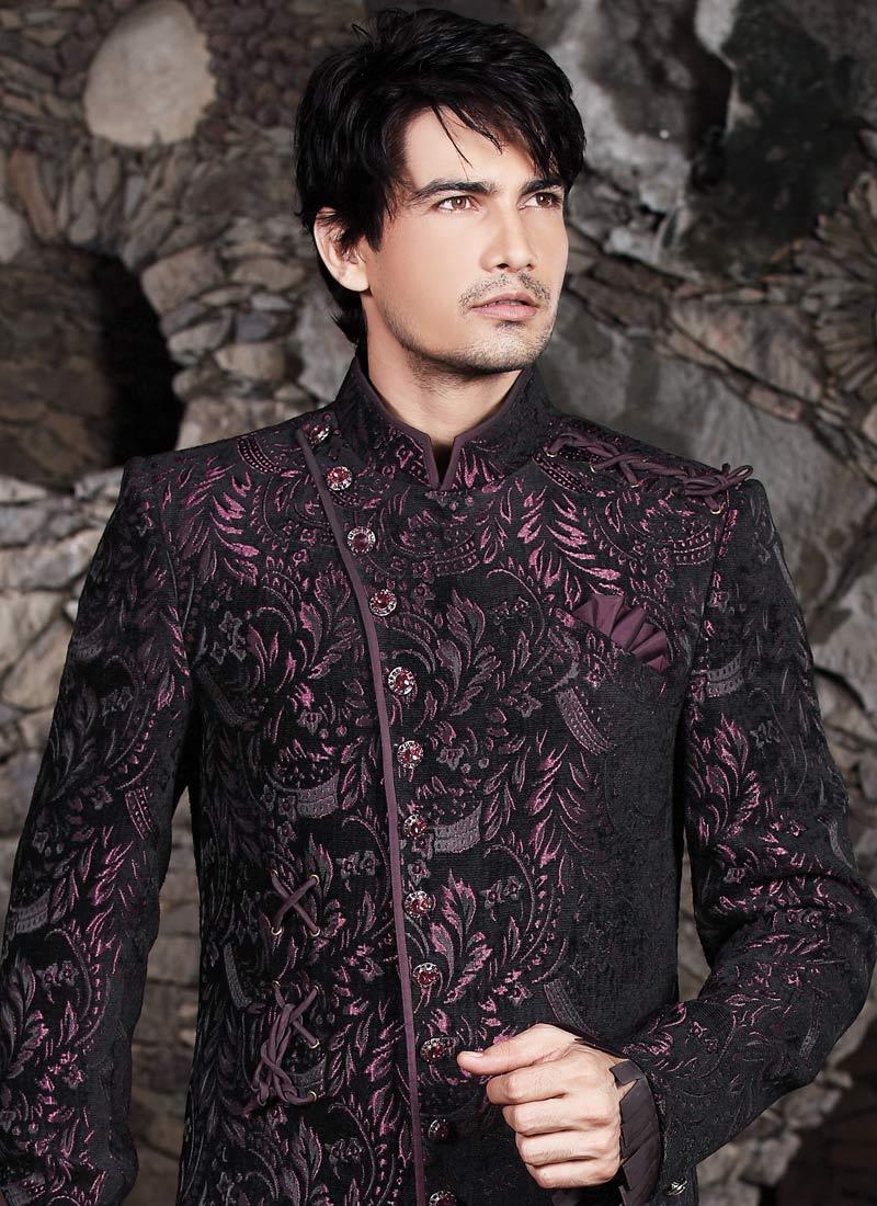 Latest wedding sherwani designs for men replace purple with dark