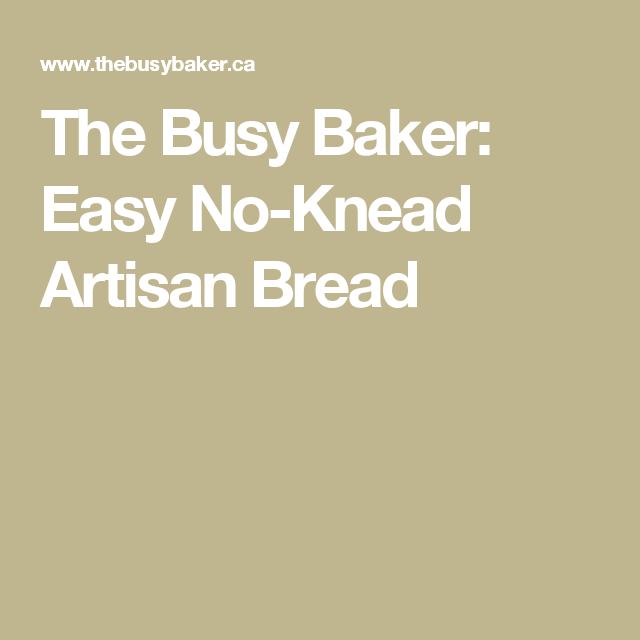 The Busy Baker: Easy No-Knead Artisan Bread