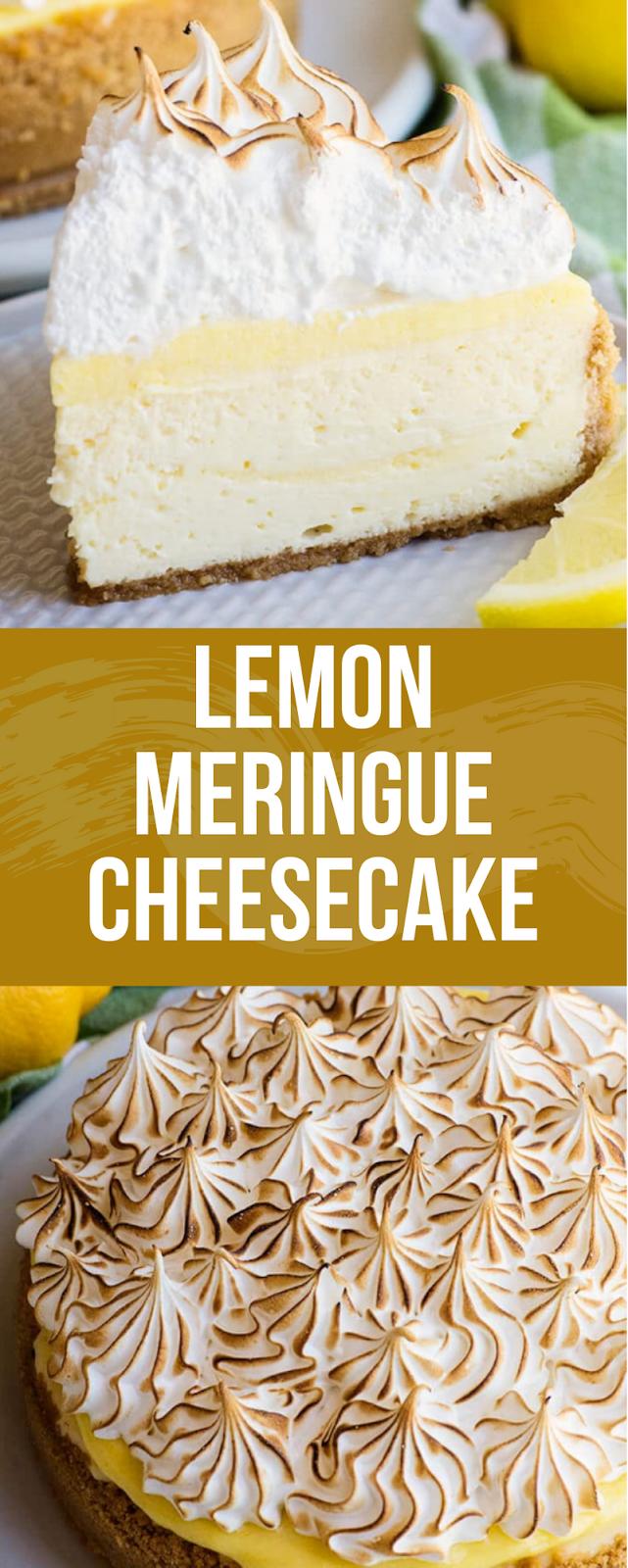 LEMON MERINGUE CHEESECAKE - Yummy #lemonmeringuecheesecake