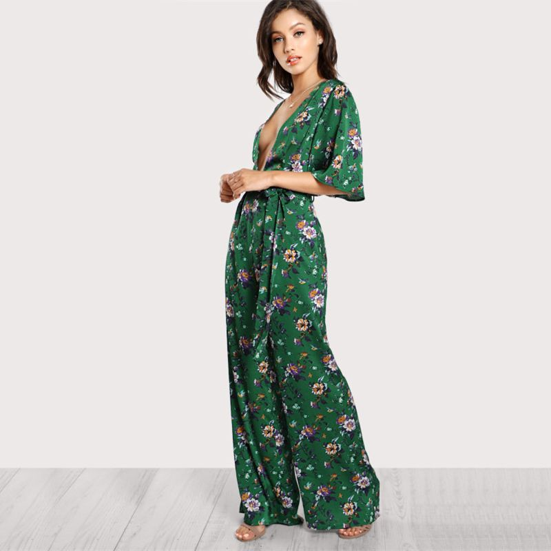 1509400cbf55 Sexy Jumpsuits for Women Bell Plunge Neck Self Belted Palazzo Multicolor  Half Sleeve Floral