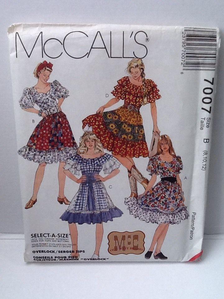 d6917e4fcd3 McCall McC Old West Brand Pattern 7007 Top Skirt Petticoat Square Dance   McCalls  SquareDance