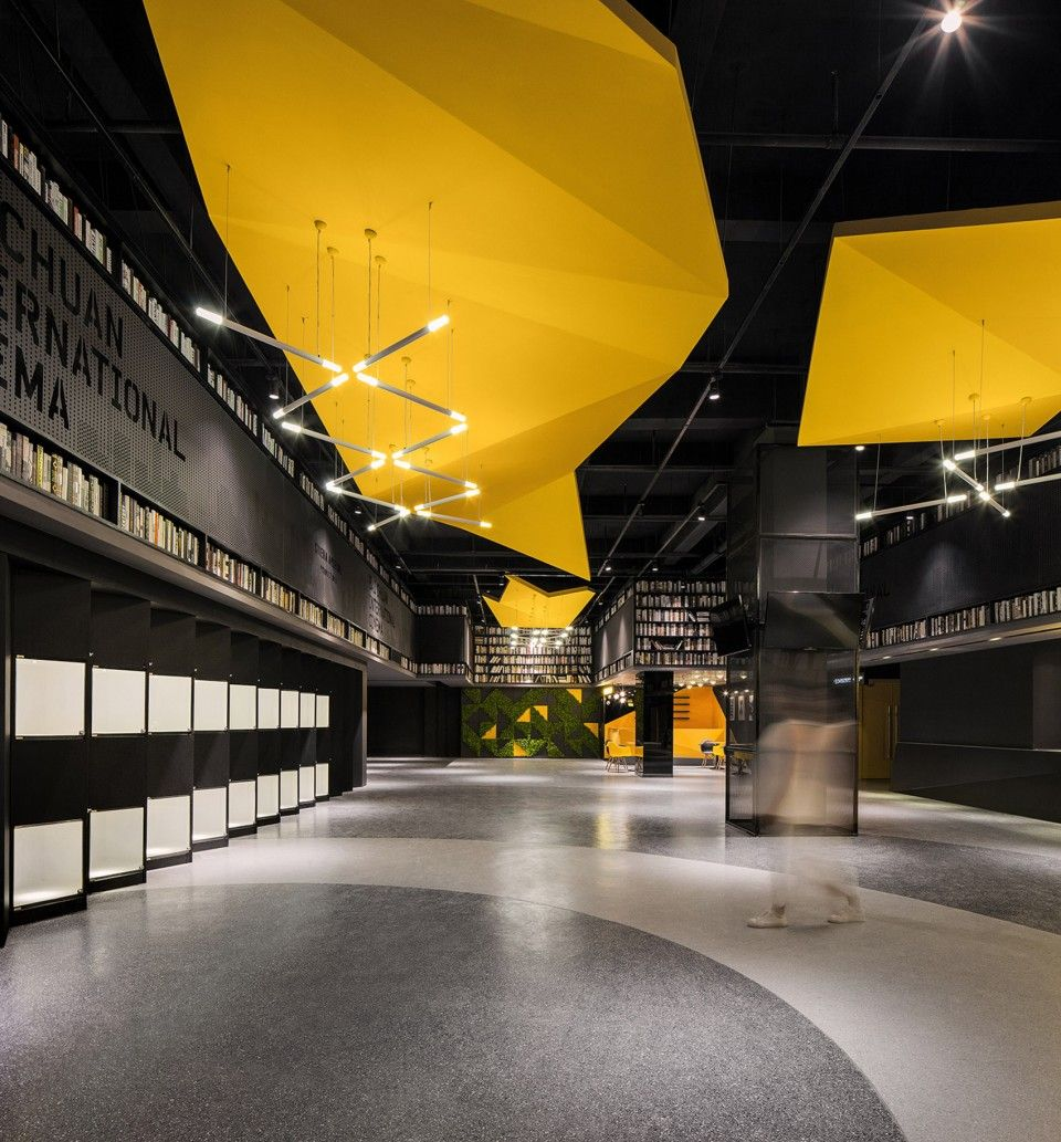 003 Cinema Of Vitality In Yellow Origami Baichuan International Cinema By Um Design Public Space Design Bookstore Design Design